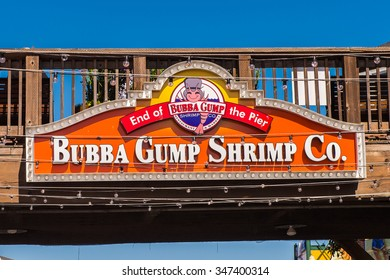 SAN FRANCISCO, USA - OCT 5, 2015: Bubba Gump shrimp company at Pier 39 of San Francisco. Pier 39 is a shopping center and popular tourist attraction built on a pier in San Francisco