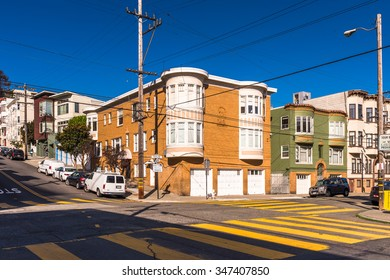 SAN FRANCISCO, USA - OCT 5, 2015: Houses of San Francisco. San Francisco is the cultural, commercial, and financial center of Northern California