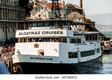 SAN FRANCISCO, USA - OCT 5, 2015:  Touristic boat to the Alcatraz Federal Penitentiary, USA. It was a maximum high-security Federal prison on Alcatraz Island, California, USA, from 1934 to 1963