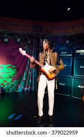 SAN FRANCISCO, USA - OCT 5, 2015: Jimi Hendrix at the Madame Tussauds museum in SF. It was open on June 26, 2014