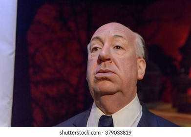 SAN FRANCISCO, USA - OCT 5, 2015: Alfred Hitchcock at the  Madame Tussauds museum in SF. It was open on June 26, 2014