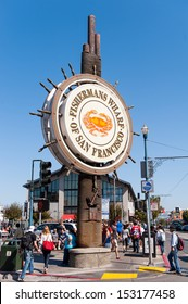 SAN FRANCISCO, USA - OCTOBER 03: Fishermans Wharf sign in San Francisco June 03, 2012. Fisherman's Wharf is a neighborhood and popular tourist attraction in California.