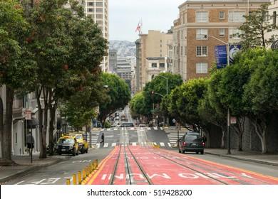 San Francisco, USA - October 1, 2015: View of a typical road of San Francisco.