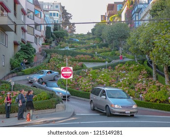 San Francisco, USA - October 28 2016: LOMBARD STREET - In San Francisco there is a street that has become a symbol, among the most recognizable, of San Francisco