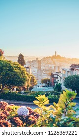 San Francisco, USA – October 30, 2018: A view of Coit tower and outer bay area from Lombard street on the morning of October 30, 2018.