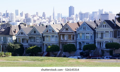 SAN FRANCISCO, USA - OCTOBER 5th, 2014: Painted Ladies with SF skyline in the background as seen from Alamo Square.
