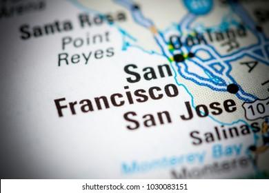 San Francisco. USA on a map.