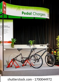 SAN FRANCISCO, USA - SEPT 24, 2008: IBM-sponsored stand for charging batteries by human rotation of bicycle wheels at Oracle OpenWorld conference on Sept 24, 2008 in San Francisco, USA.