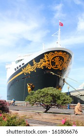 SAN FRANCISCO, USA - SEPTEMBER 14 : Disney Wonder cruise ship at the pier on September 14, 2012 in San Francisco, USA. Disney ships were designed as family cruise liners and do not include casinos