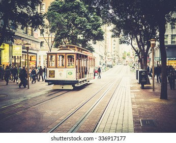 SAN FRANCISCO, USA - SEPTEMBER 15: typical tram on September 15, 2015 in San Francisco, California, United States. San Francisco was founded on June 29, 1776.