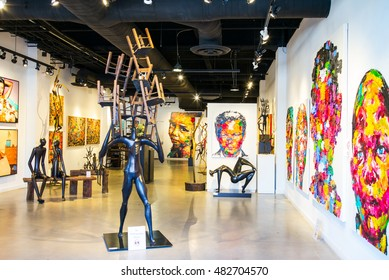 San Francisco, USA - September 21, 2015:  A modern art exhibition in Fisherman Warf area