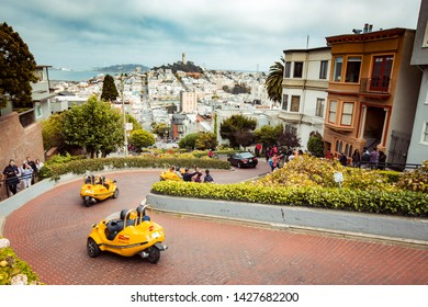 SAN FRANCISCO, USA - SEPTEMBER 3, 2016: Tourist crowds are gathering at famous Lombard Street in central San Francisco, California, USA.