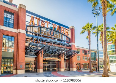 SAN FRANCISCO, USA - SEPTEMBER 4, 2016: Historic AT&T Park baseball park, home of the famous San Francisco Giants professional baseball franchise, on a beautiful sunny day with blue sky.