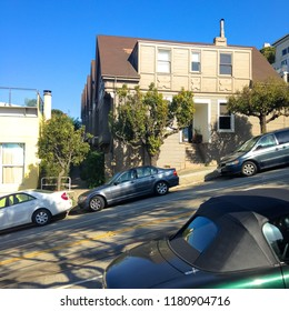 San Francisco. USA. Spring 2015. Steep slope with cars in San Francisco.