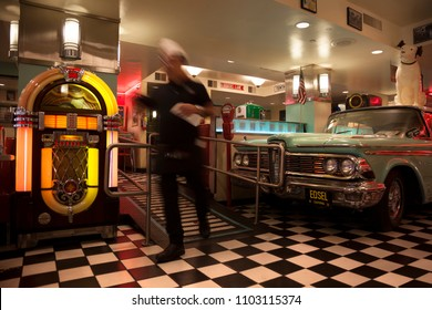 SAN FRANCISCO, USA-June 21, 2017: Typical bar decorated in the 50s in San Francisco, CA, on june 21, 017