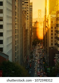 San Francisco, USA,October 2017. Sunset in the center of the city. Numerous vehicles pass through the place.