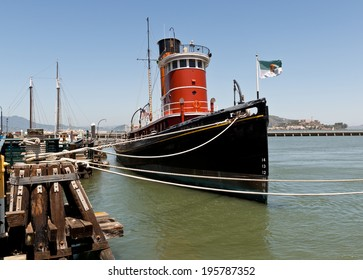 San Francisco Vintage Tug Boat and Alcatraz Island