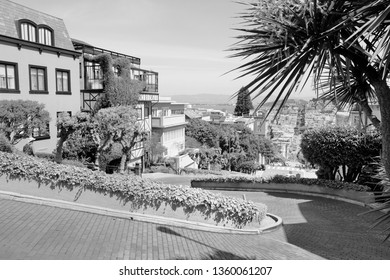 San Francisco winding Lombard Street. Black and white vintage style.