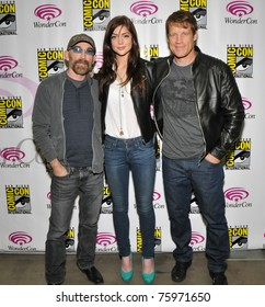 SAN FRANCISCO-APRIL 3.  Jackie Earle Haley, Janet Montgomery and Mark Valley pose for the press during the Wonder-Con convention in San Francisco, California on April 3, 2011.