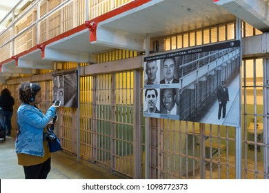 SAN FRANCISCO,CALIFORNIA - April 17,2018 : Prison Corridor inside the Alcatraz Island in San Francisco on April 20,2018. The Alcatraz island was a federal prison from 1933 until 1963.