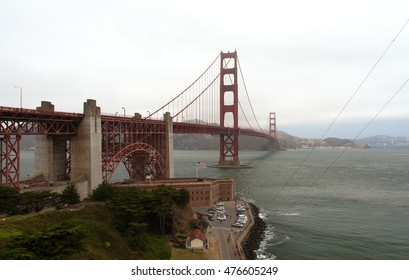 San Francisco,California - USA,August 2016:Side view of the Golden Gate Bridge from the San Francisco portion of the coast in a foggy summer day. Editorial. horizontal view