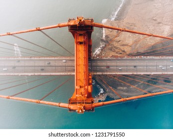 San Francisco,California,United States - November, 15, 2018 - Aerial haze view of Golden Gate Bridge in bad visibility. Smoke produced by sea-coastal wildfires. Unhealthy and toxic fire polluted air