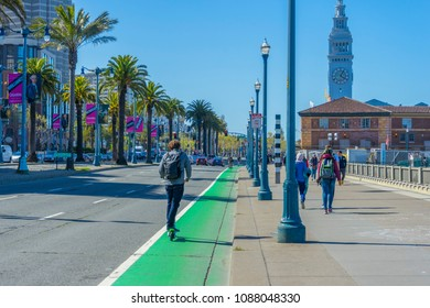 San Francisco,California,USA - April 20,2018 : The Embarcadero street leading to Ferry Building Marketplace in San Francisco,California on April 20,2018.