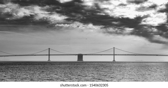 San Francisco/Oakland Bay Bridge Black and White