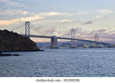 SAN FRANCISCO-OAKLAND BAY BRIDGE, CALIFORNIA - AUGUST 12, 2014 - A view of one of America's great suspension bridges, the double decker San Francisco-Oakland Bay Bridge in California
