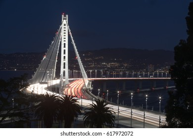 San Francisco-Oakland Bay Bridge Eastern Span at Night. Yerba Buena Island, San Francisco Bay, California, USA.