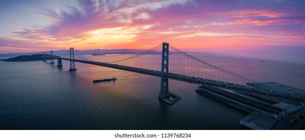 San Francisco-Oakland Bay Bridge at Sunrise, California, USA