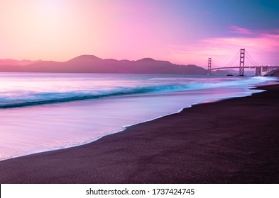 San Francisco's Famous Golden Gate Bridge at Dusk from Baker Beach