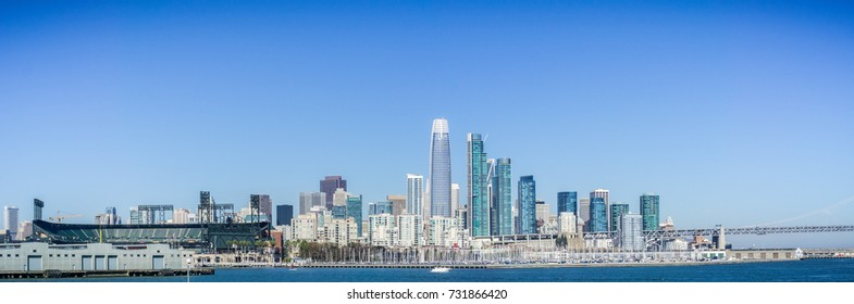 San Francisco's Financial District new skyline as seen from the waterfront on a sunny and clear day