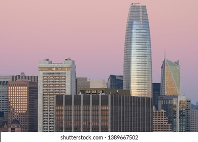 San Francisco's financial district skyline at dusk. The Salesforce Tower (right) has been San Francisco's tallest building since its construction in 2017.