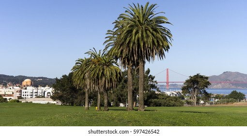San Francisco's Fort Mason landscape with the Golden Gate Bridge