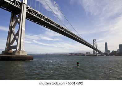 San Francisco's landmark Bay Bridge crossing to Oakland.