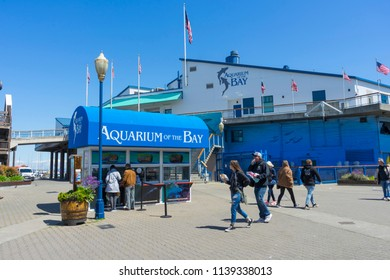 SAN FRANCISCO,USA - April 18,2018 : View of Aquarium of the Bay at Pier 39  of San Francisco,CA on April 18,2018. Pier 39 is a popular tourist attraction built on a pier in San Francisco.