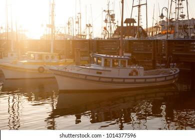 SAN FRANCISCO-USA, June 16, 2017: Sunset on San Francisco Harbour. Fischerman's Warf zone in June 16, 2017