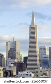 SAN FRANCISCO,USA - MARCH 1 2014: The Transamerica Pyramid in California, United States of America.The tallest skyscraper in the city skyline in downtown financial district housing commercial offices.