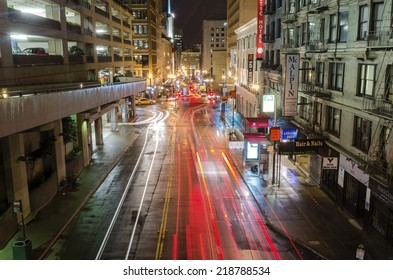 SAN FRANCISCO,USA - MARCH 1 2014: Night view of Stockton street in downtown San Francisco, California, United States of America. A view of the stores,hotels, city lights, architecture and skyscrapers.