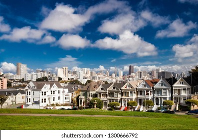 San Francisco-USA, November 1st, 2012:Painted Ladies is the row of Victorian houses at 710–720 Steiner Street, across from Alamo Square park. The houses were built between 1892 and 1896 by developer M