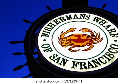 SAN FRANCISCO,USA - Sep 10 2018: Fishermans Wharf of San Francisco central sign. Fisherman's Wharf is a neighborhood and popular tourist attraction.