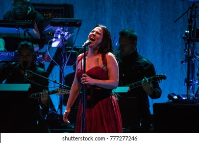 SAN FRANCISO, CA - DECEMBER 16, 2017: Evanescence in concert at The Masonic in San Francisco, CA