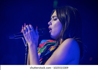SAN FRANCISO, CA - FEBRUARY 13, 2018: Dua Lipa in concert at The Masonic in San Francisco, CA
