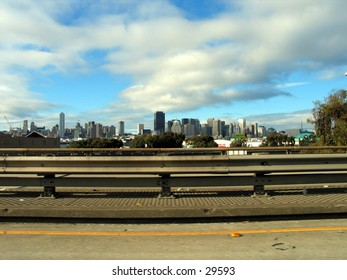San Franciso, the city by the Bay, as viwed from a highway near it.