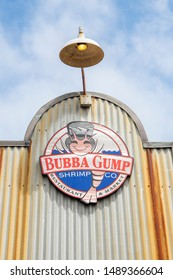 San Fransisco, California / USA - August 24 2019: The Bubba Gump Shrimp Company Restaurant and Market sign at Pier 39 in San Fransisco, California.