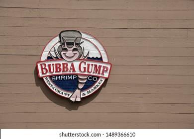 San Fransisco, California / USA - August 24 2019: The Bubba Gump Shrimp Company Restaurant and Market sign at Pier 39 in San Fransisco, California.