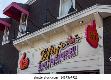 San Fransisco, California / USA - August 24 2019: Lefty's the Left handed store sign above the entrance to the shop on Pier 39 in San Francisco, California / USA.