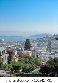 SAN FRANSISCO, CALIFORNIA, USA, SEPTEMBER 10, 2014: View from Lombard street over San Fransisco, the crookedest street in the world