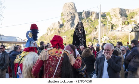 "SAN FRATELLO, ITALY - APRIL 14: The statue of the Madonna at the religious procession during easter in Sicily at the ""Festa dei Giudei"" on April 14, 2017"
